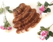 golden brown Wefted mohair wavy hair waldorf, Blythe Doll wig, tress, fabric dolls, curly mohair goat fiber, HAIR EXTENSION