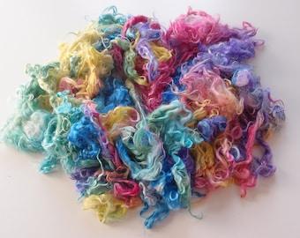 Baby Suri Alpaca hand processed Locks Hand dyed rainbow colors - for felting, spinning.