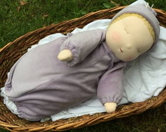 """Reserved for katabb Weighted Waldorf 16"""" Baby Doll with 2 Removable Bunting Gowns Tranquil Tot"""