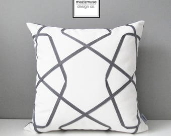 Grey & White Outdoor Pillow Cover, Geometric Pillow Cover, Decorative Pillow Cover, Gray White Lattice, Sunbrella Cushion Cover, Mazizmuse