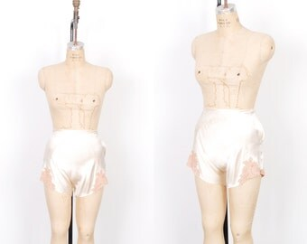 Vintage 1930s Tap Shorts / 30s High Waisted Silk and Lace Lingerie Tap Pants / Ivory ( medium M )