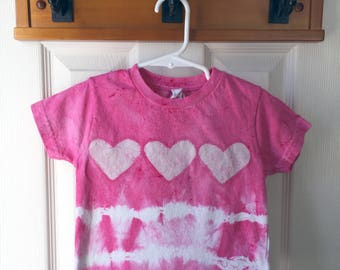 Pink Hearts Shirt, Girls Tie Dye Shirt, Pink Girls Shirt, Batik Hearts Shirt, Kids Tie Dye Shirt, Valentines Day Shirt (2T)