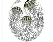 Jellyfish - Limited edition, handmade silkscreen print (with glow-in-the-dark details)