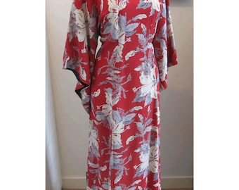 XL Vintage Red Hawaiian Pake Muu Dress McInerny's Tropical Tiki Hibiscus Print