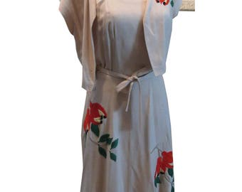 Tropical Tiki 50's Resort Dress with Stunning Embroidered Flowers