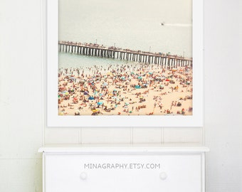 "Large Scale Beach Wall Art // Summer Beach Photography // Crowded Beach Photography Large // ""The Summers we leave behind - Pier"""