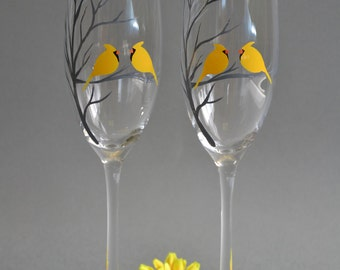 Hand painted Wedding Toasting Flutes Set of 2 Personalized Champagne glasses Tree and Yellow Cardinals