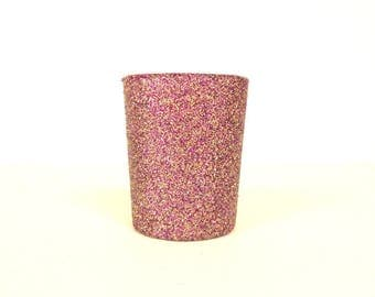 Purple and Gold Blend Glittered Votive Candle Holder, Wedding and Shower Decorations, Home Decor