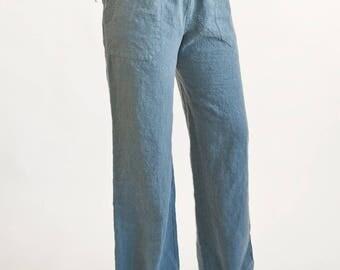 Teal linen pants | Etsy