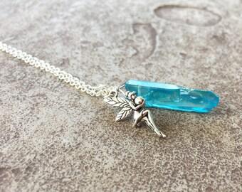 Blue Crystal Necklace, Aqua Aura Quartz, Aura Crystal Necklace, Crystal Fairy Necklace, Fairy Jewelry, Blue Aura Quartz Necklace Handmade