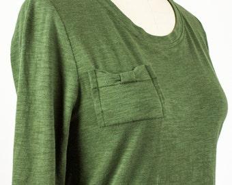 Bow Pocket Tshirt - 3/4 sleeve / Organic cotton & Bamboo t-shirt / Moss Green / Black eco fashion basics