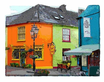 Kinsale, Ireland Illustration from Original Photography - Colorful Orange, Lime Green, City Shops - Travel Photography