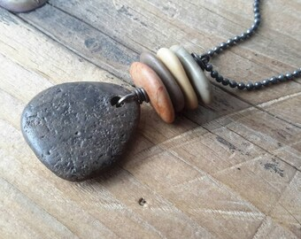 Rock Necklace | Stone Pendant & Cairn | Brown Rock on Gunmetal Chain