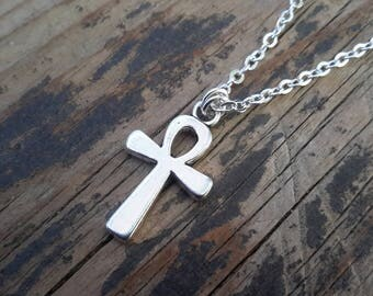Silver Ankh Necklace | Ancient Egyptian Small Charm on Silver Chain