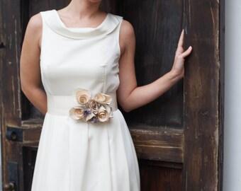 Ivory Wedding Dress, Simple Wedding Dress, Retro Wedding Dress, Alternative Wedding Dress, Floral Wedding Dress, Made To Measure