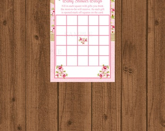 Floral Shabby Chic Rose Baby Shower Bingo, Pink Rose Baby Shower, Instant Download, Baby Shower Game