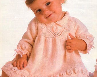 PDF Baby Knitting Pattern - Baby Girl  Dress 16-22ins chest in 4 ply