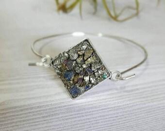 Druzy Bracelet Druzy Stone Raw Pyrite Peacock Ore Mineral Jewelry Galaxy Bracelet Geometric Bracelet Stacking Bangle Statement Bracelet