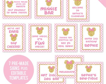 INSTANT DOWNLOAD Gold Minnie Mouse Party - Printable 8x10 Signs, Plus Bonus EDITABLE Signs!