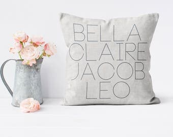 Mother's Day Gift Personalized Family Names Pillow Cover