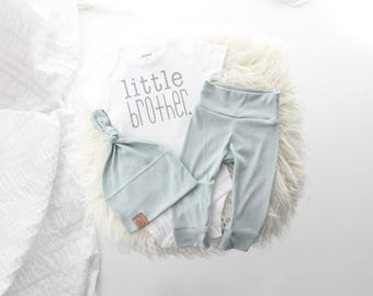 Dusty blue and grey 3 piece little brother outfit | cute little brother | baby boy outfit | bringing home baby outfit | it's a boy |