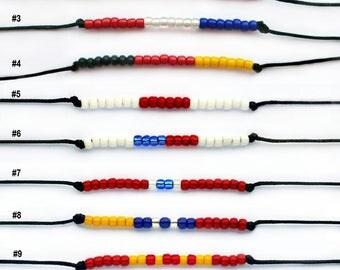 Country Flag Bracelet, British Flag Bracelet, France Flag Bracelet, Germany Flag Bracelet (many colors to choose)