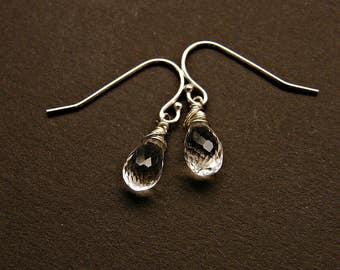 Crystal earrings for women, dainty crystal earrings, clear quartz earrings, rock crystal silver earrings, dainty clear stone earrings