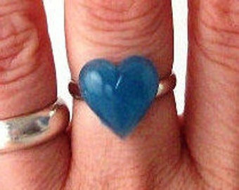blue heart statement ring adjustable band cocktail ring fashion womens ladies modern valentines day sweetheart love romance romantic bright