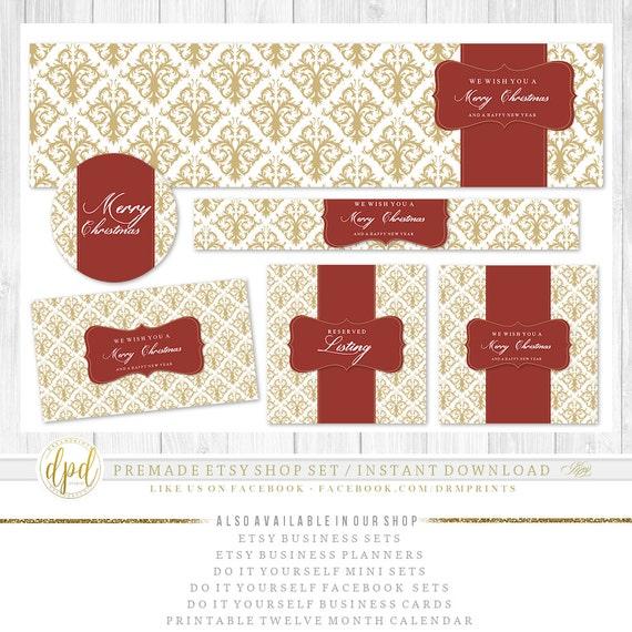 Premade DIY Etsy Christmas Shop Set | Blank Etsy Set | Premade Shop Set | Etsy Shop Graphics | Etsy Business Set | INSTANT DOWNLOAD-AA318