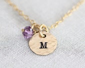 Personalized Dainty Birthstone Necklace, Tiny Gold Initial Disc Charms, For Mom Mothers Day Jewelry