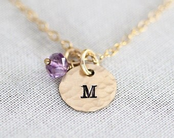 Personalized Dainty Birthstone Necklace, Tiny Gold Initial Disc Charms, For Mom Mothers Jewelry