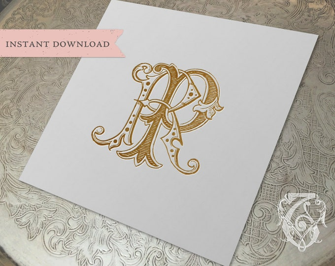 Vintage Wedding Monogram RP Digital Download R P