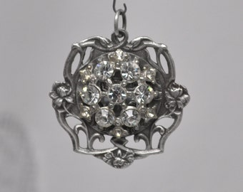 Authentic Antique Art Nouveau French Medal Silver Plated Bronze Rhinestone Pendant