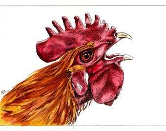 """ROOSTER 7 chicken Chinese New Year watercolor and ink painting Sandrine Curtiss ORIGINAL Art 5x7"""""""