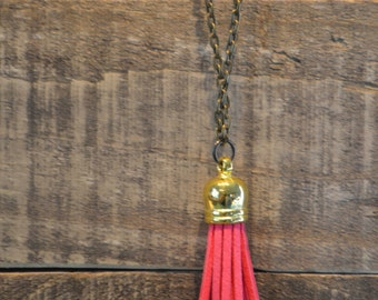 Pink and Bronze Tassel Necklace