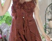Autumn leaves  short silk dress, fractal wings burning man clothing