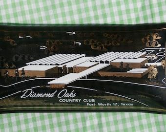 Black Glass Diamond Oaks Country Club, Ft. Worth, TX  Mini Tray Vintage Souvenir Smoke Glass Dish