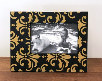 Black and Gold Hand Painted 4x6 Picture Frame, Damask Picture Frame, Wedding Photo Frame, Family Photo Frame, Tabletop Frames, Custom Frames