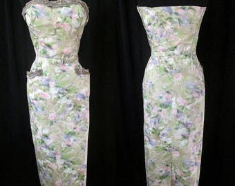 """Beautiful 1950's Designer Strapless Curve Hugging Summer Cocktail Dress by """"Mark-el Fashions of Miami"""" Pinup Girl Rockabilly Size Large"""