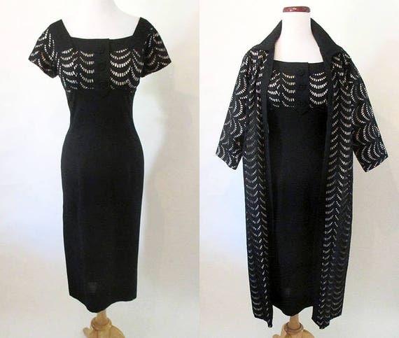 Charming Designer Two Piece Cocktail Dress /Matching coat/ hourglass vintage party dress shelf bust VLV Rockabilly  Size Medium