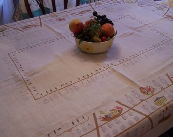 Vintage 70s Linen Kitchen Tablecloth, Hand Printed, Tea pot,Fruit, Wine Jugs, Kitchen Utensils, Red, Gray, Brown, Ivory Linen, Dining Room