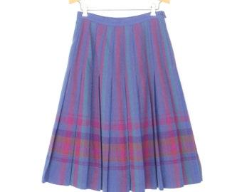 Vintage Plaid Skirt * Pleated Wool Skirt * 80s Midi Skirt * Small