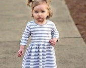 Play Dress | Gray Stripes | Sizes 3 Months to 7/8 | 2 Color Options | grey, girls dress, baby girl dress, striped dress