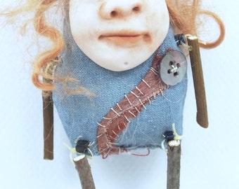 Folk Art Doll Ornament holiday christmas coth clay miniature doll #52