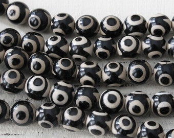 8mm Round Gemstone Beads - Black And White Tibetan Agate Dzi Beads - Jewelry Making Supply