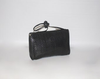 Vintage FENDI Clutch Black Woven Leather Convertible Crossbody Bag -AUTHENTIC-