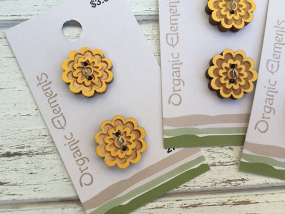 """Wood Buttons, Yellow Flower Design, Organic Elements Collection, Style 2724, 2 Hole Sew On, Carded Set of 2, 3/4"""" (19mm)"""