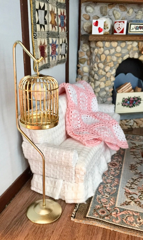 Miniature Birdcage, Brass Cage With Stand and Bird, Dollhouse Miniature, 1:12 Scale, Miniature Bird Cage, Bird on Swing, Mini Bird