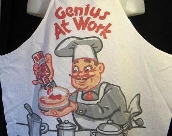 Vintage 1940s 50s Genius at Work BBQ Apron, Full Bib Style Apron