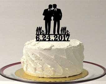 MADE In USA Gay Wedding Cake Topper Personalized Same Sex